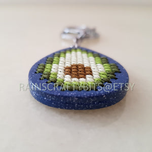 Avocado Wooden Cross Stitch Key Chain