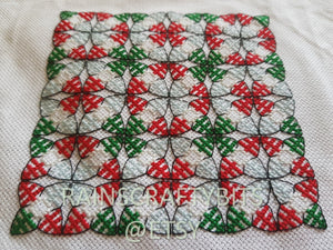 Geometric Christmas Tree Cross Stitch, Completed Cross Stitch, Finished Work, Unframed