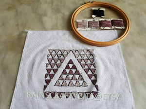 Geometric Triangle Cross Stitch, Completed Cross Stitch, Finished Work, Unframed