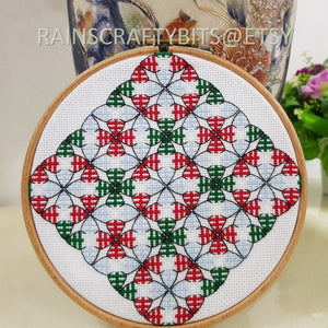 Geometric Christmas Tree Cross Stitch Completed Unframed