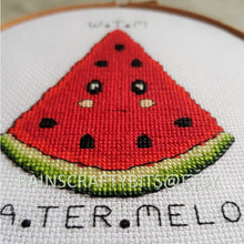Load image into Gallery viewer, Watermelon Slice Pattern, Subtle Curse Expression, Completed Cross Stitch, Finished Work, Unframed
