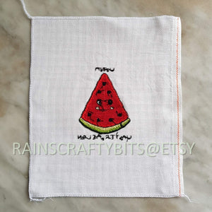 Watermelon Slice Pattern, Subtle Curse Expression, Completed Cross Stitch, Finished Work, Unframed