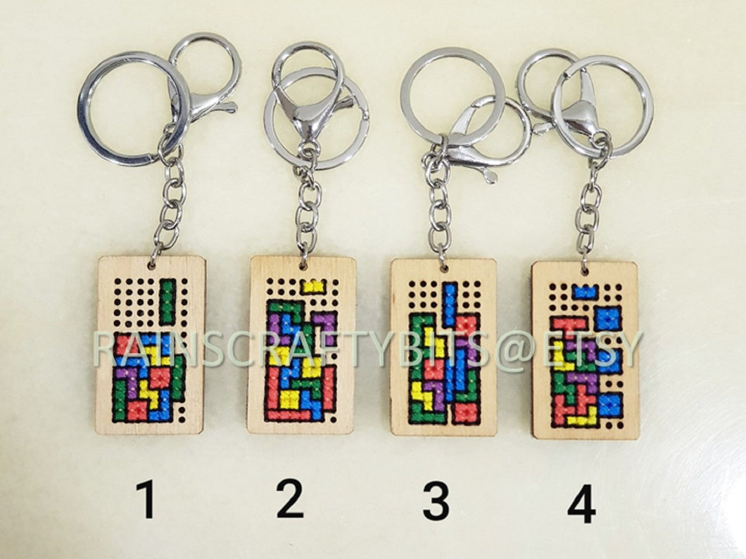 Handmade Brickgame Cross Stitch Keychain