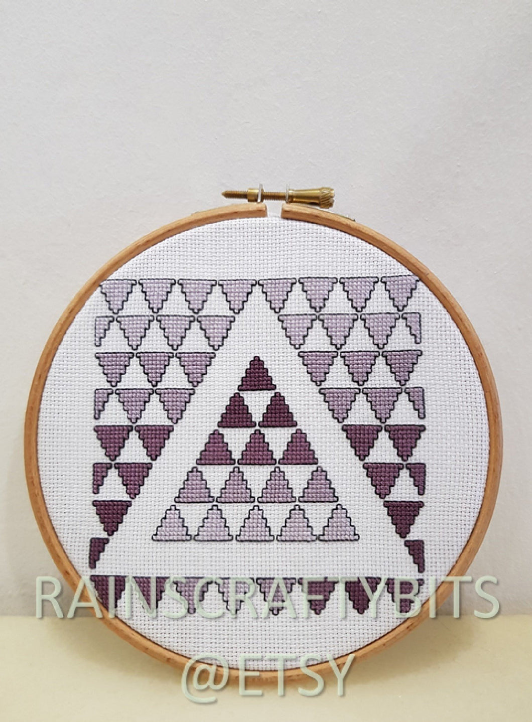 Geometric Triangle Cross Stitch Completed Unframed