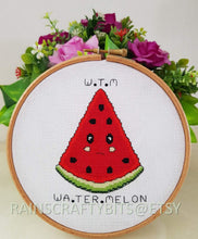 Load image into Gallery viewer, Watermelon Cross Stitch Completed Work Unframed