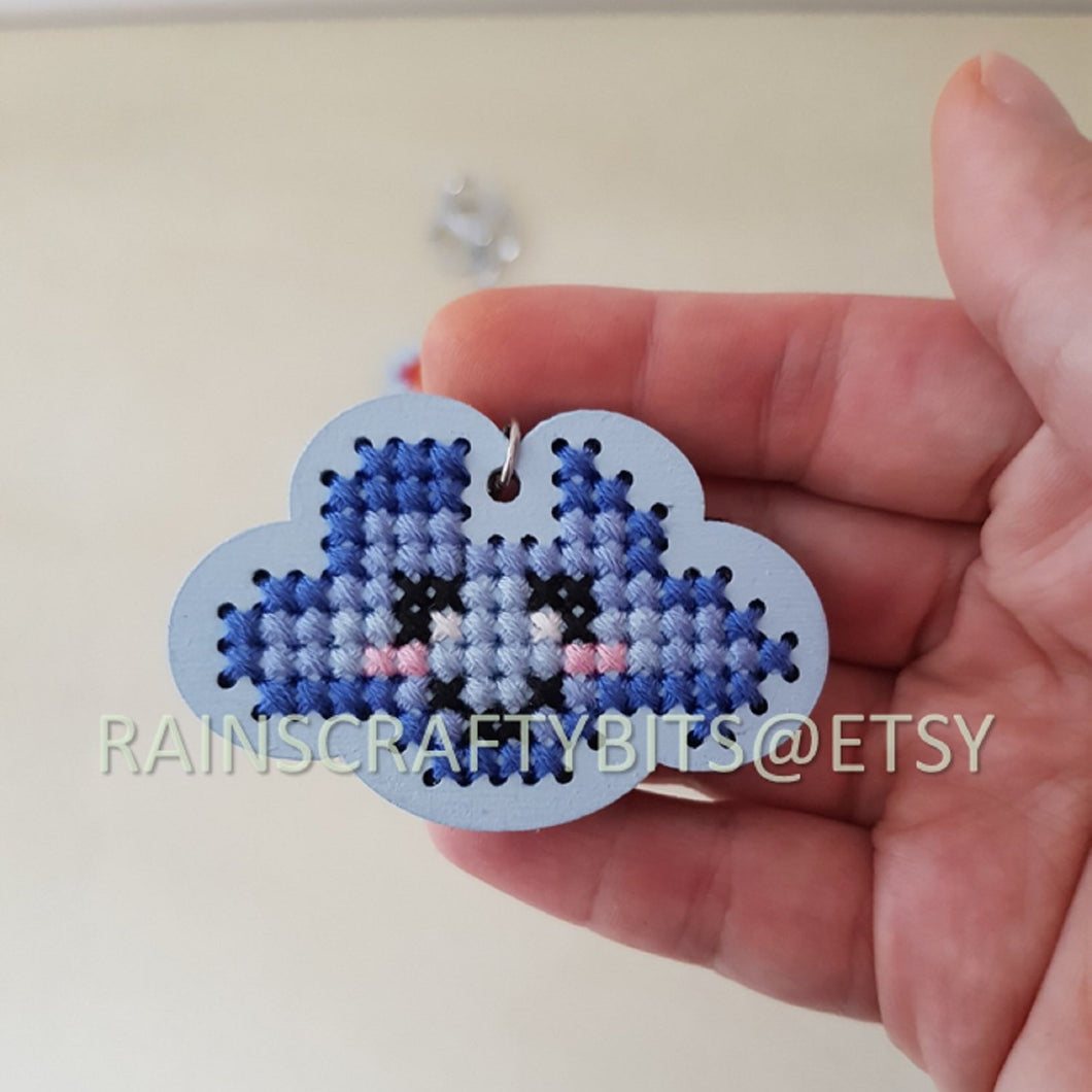 Handmade Cloud Face Cross Stitch Keychain