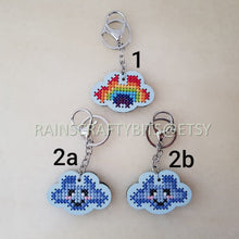 Load image into Gallery viewer, Handmade Cloud Face Cross Stitch Keychain