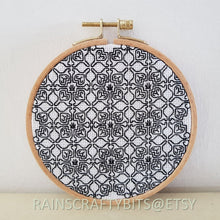 "Load image into Gallery viewer, 5"" Geometric Blackwork Embroidery Hoop Art Wall Deco (2)"