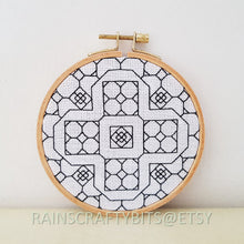 "Load image into Gallery viewer, 5"" Geometric Blackwork Embroidery Hoop Art Wall Deco"