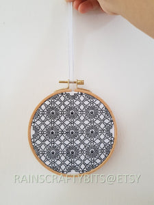 "5"" Geometric Blackwork Embroidery Hoop Art Wall Deco (2)"