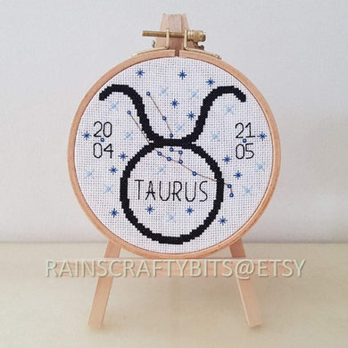 Taurus Constellation Cross Stitch Hoop Art Wall Deco