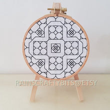 Load image into Gallery viewer, Geometric Blackwork Embroidery on Aida Hoop Art Wall Deco