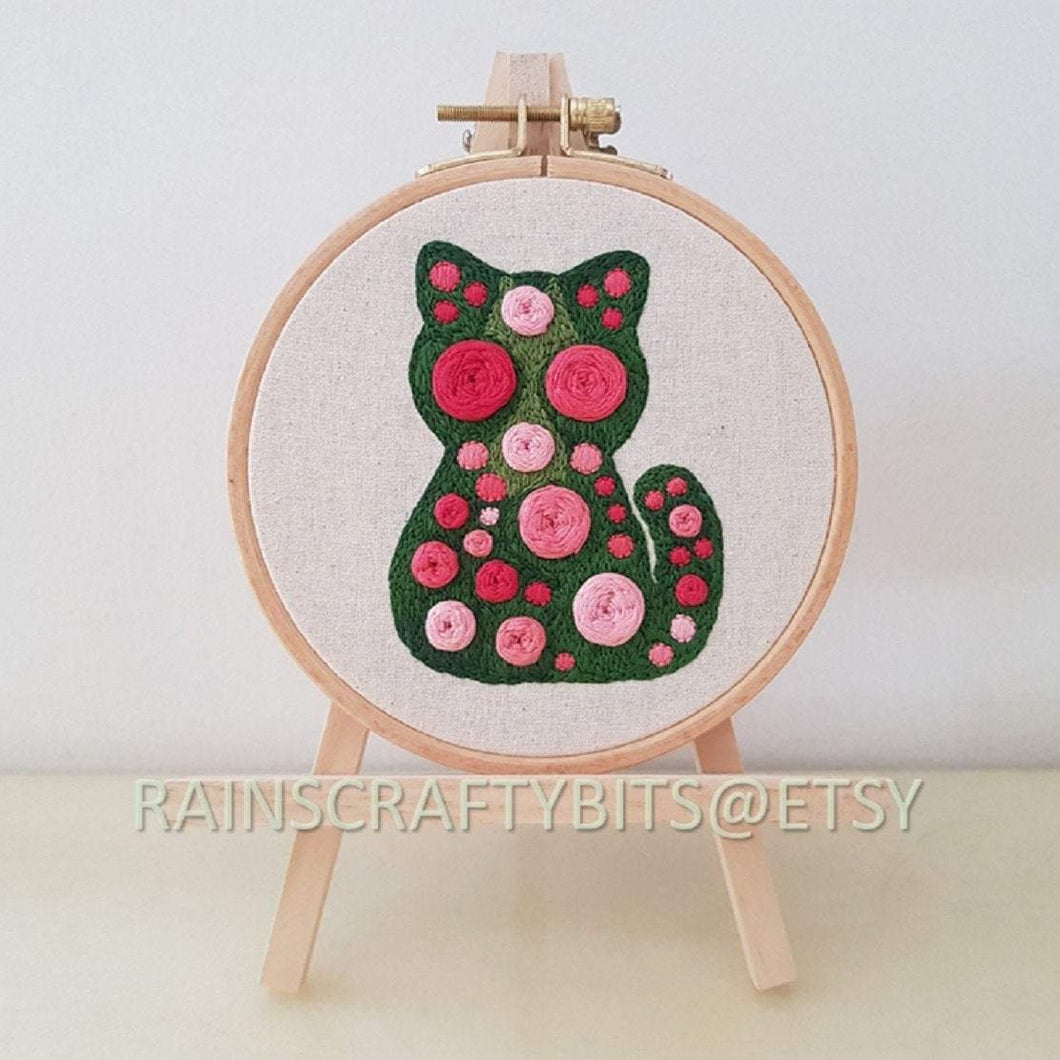 Cat Embroidery Hoop Art Wall Deco