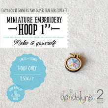 "Load image into Gallery viewer, Dandelyne 1"" / 1 inch / 2.5cm Mini Embroidery Hoop, Brooch and Necklace DIY Set"