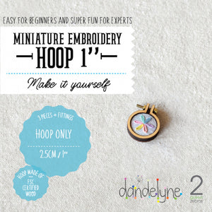 "Dandelyne 1"" / 1 inch / 2.5cm Mini Embroidery Hoop, Brooch and Necklace DIY Set"
