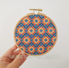 Load image into Gallery viewer, Geometric Cross Stitch Hoop Art Wall Deco