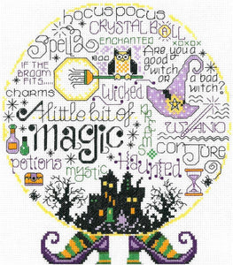 Ursula Michael Design: Let's Be Magical, Halloween, Imaginating Leaflet Cross Stitch Pattern, Available in Hardcopy Only