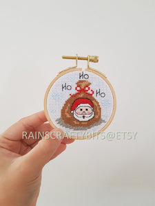 "3"" Christmas Cross Stitch Hoop Art Wall Deco"