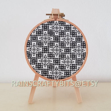 Geometric Blackwork Embroidery on Aida Hoop Art Wall Deco