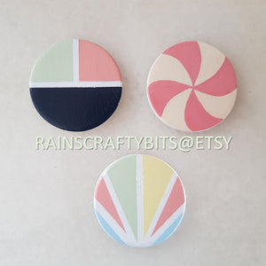Handmade OOAK Painted Round Wooden Refrigerator Magnet