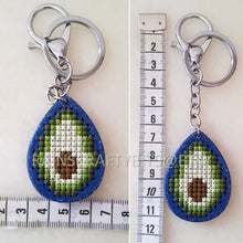 Load image into Gallery viewer, Avocado Keyring, Handmade Avocado Wooden Cross Stitch Keychain