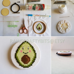 "Avocado Mini Hoop Art, 2.2"" Cross Stitch Hoop Art Wall Deco"