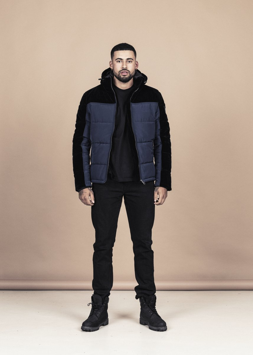 Down Velvet Jacket - Navy / Black - La Rosa