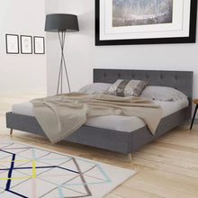 Load image into Gallery viewer, VidaXL Dark Gray Bed Wood With Fabric Padding Elegant And Sturdy Indoor Bed MDF + Plywood Slats + Poplar Wood Legs