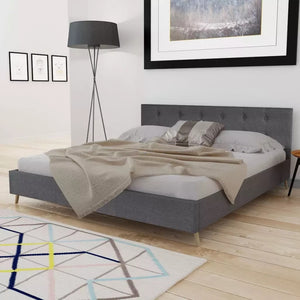 VidaXL Dark Gray Bed Wood With Fabric Padding Elegant And Sturdy Indoor Bed MDF + Plywood Slats + Poplar Wood Legs