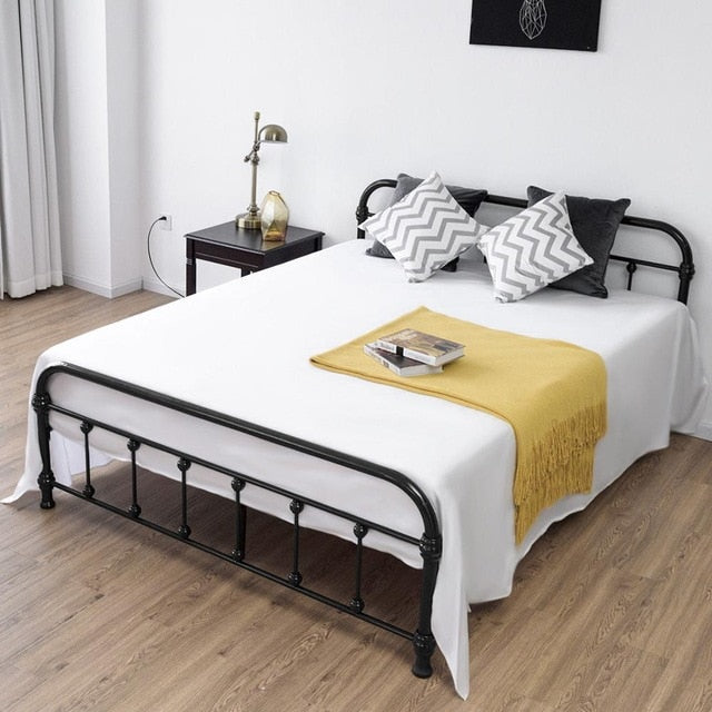 Giantex Queen Size Metal Steel Bed Frame with Stable Metal Slats Headboard Footboard Black Steel Bedroom Furniture HW57398