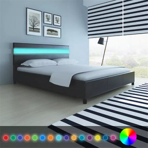 Black Artificial Leather Bed with LED Headboard Bed Frame 200 x 160 cm Bedstead Platform Bed for Bedroom Home Hotel V3