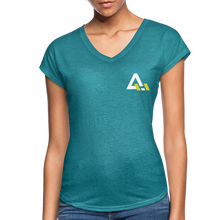 Load image into Gallery viewer, Women's Tri-Blend V-Neck T-Shirt - heather turquoise