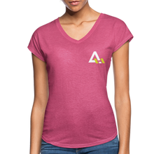 Load image into Gallery viewer, Women's Tri-Blend V-Neck T-Shirt - heather raspberry