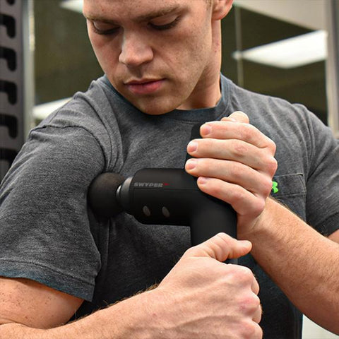 improve shoulder mobility and reduce pain by using swyper sports massager on your shoulders