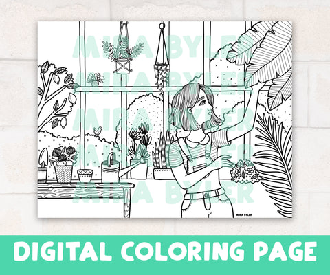 Happy Conservatory - Digital Coloring Page