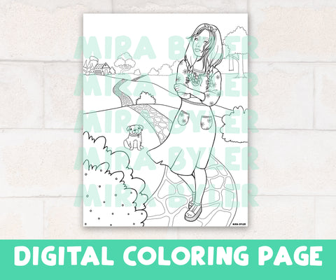 Going on a Stroll - Digital Coloring Page