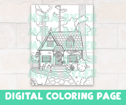 Cozy Cottage - Digital Coloring Page