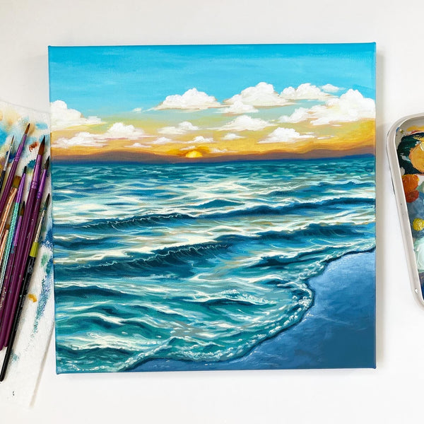 Ocean Sunset - Original Acrylic Painting