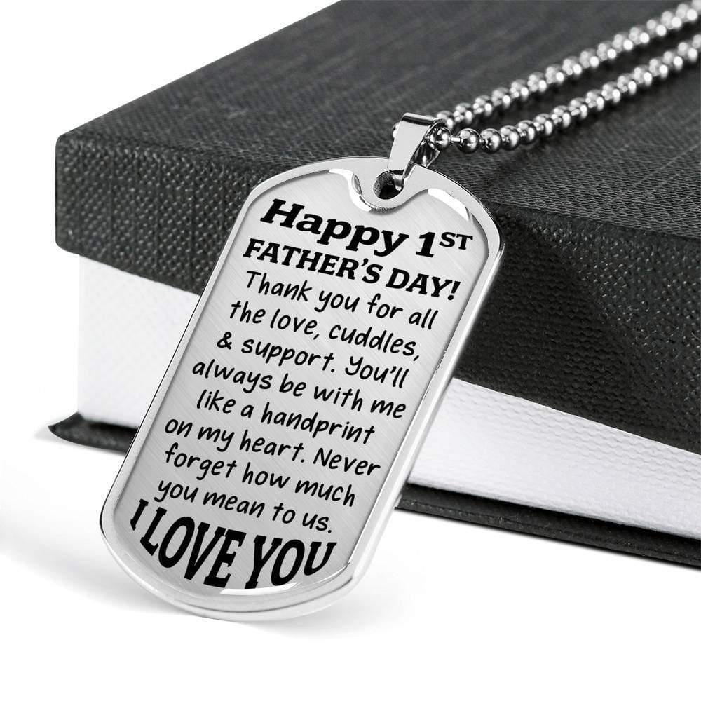 First Father's Day Jewelry ShineOn Fulfillment Military Chain (Silver) No