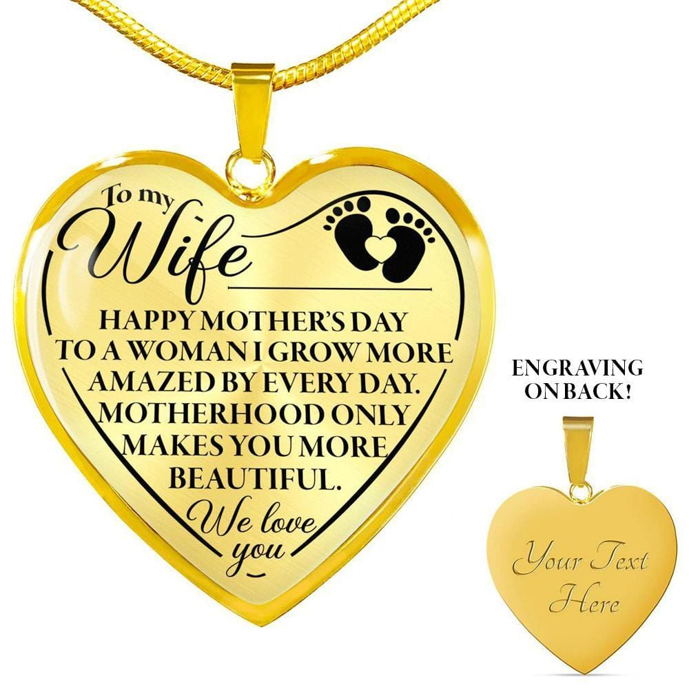 Husband to Wife Mother's Day Necklace Jewelry ShineOn Fulfillment Luxury Necklace (Silver) No