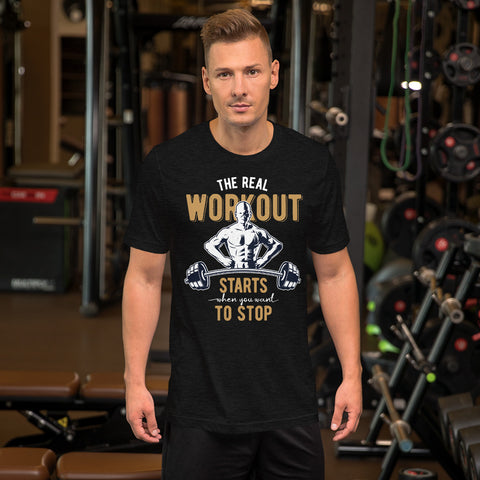 Workout #01 DARK Edition -  Short-Sleeve Unisex T-Shirt - Aurorum Fashion