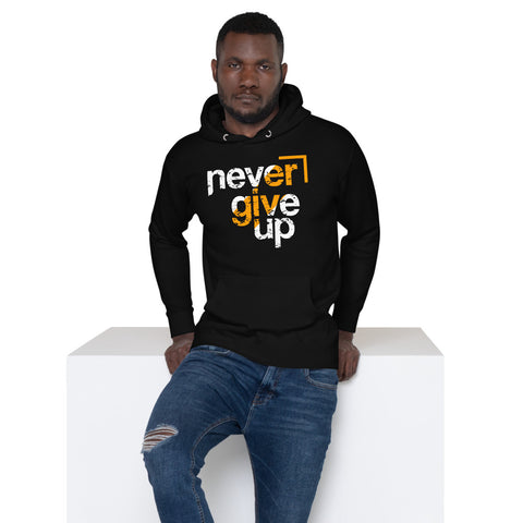 Never Give Up - Black Unisex Hoodie - Aurorum Fashion