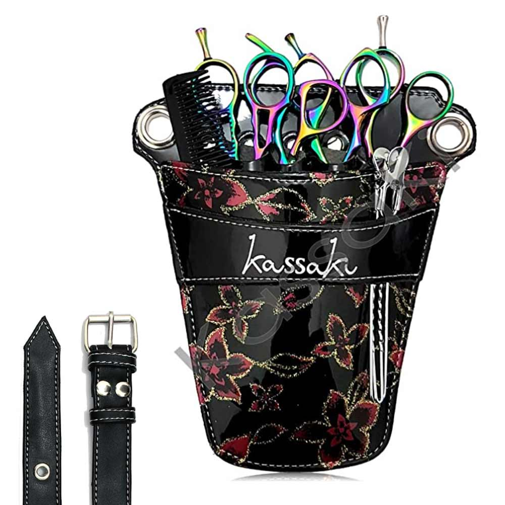 Kassaki Hairdressing Scissor Pouch Bag- Floral Black
