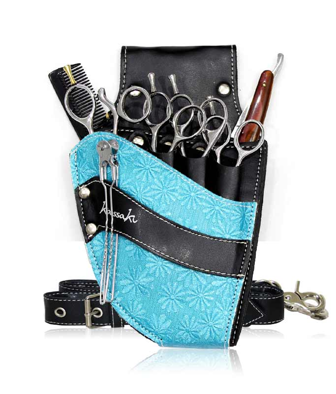 Hairdressing Scissors Pouch in turquoise Daisy