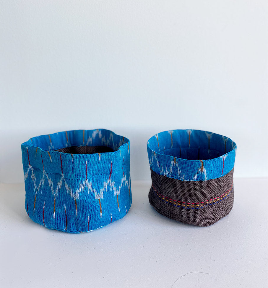 Blue ikat holder