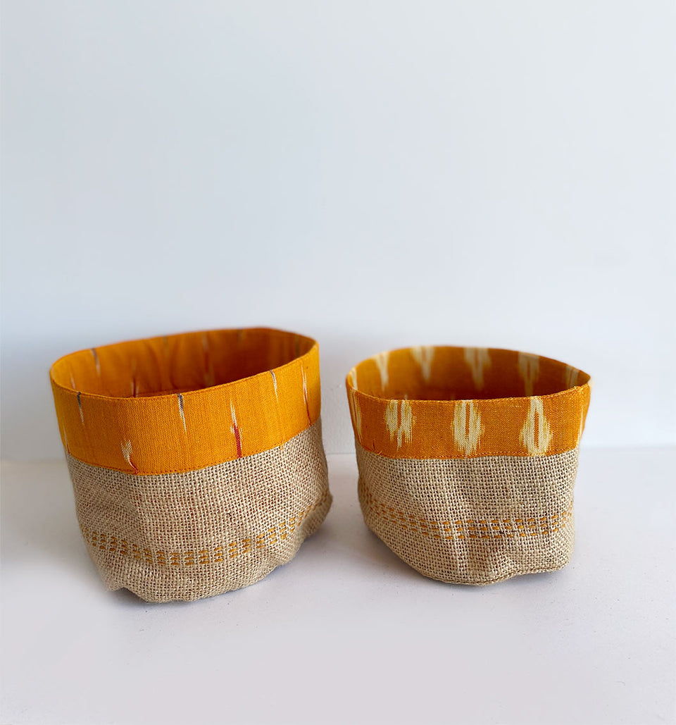 Yellow ikat holder