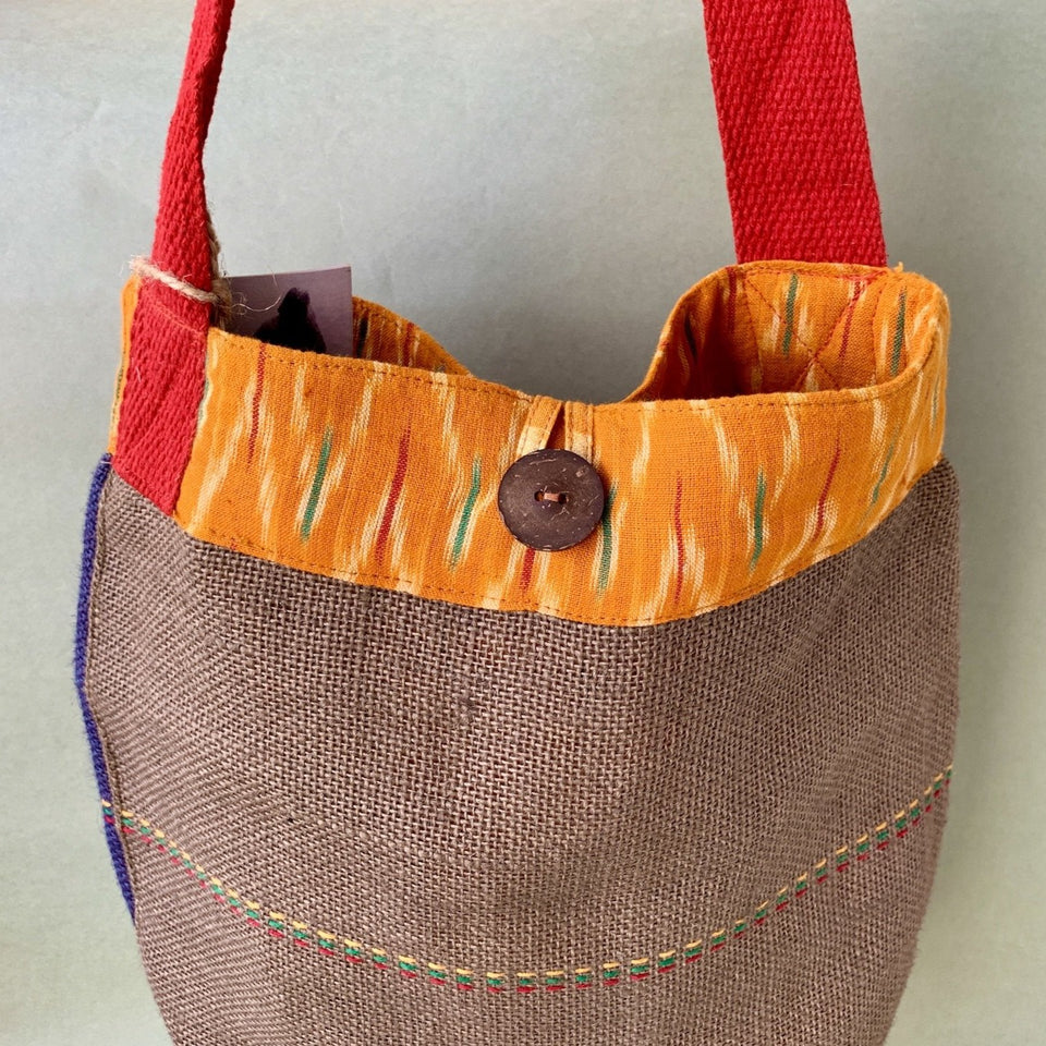 Koli Tote - Navy Brown and Yellow