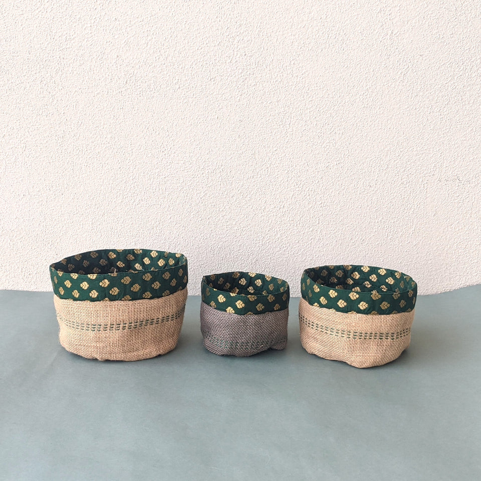 Dala Containers, Set of 3 - Beige, Gray and Green Zari