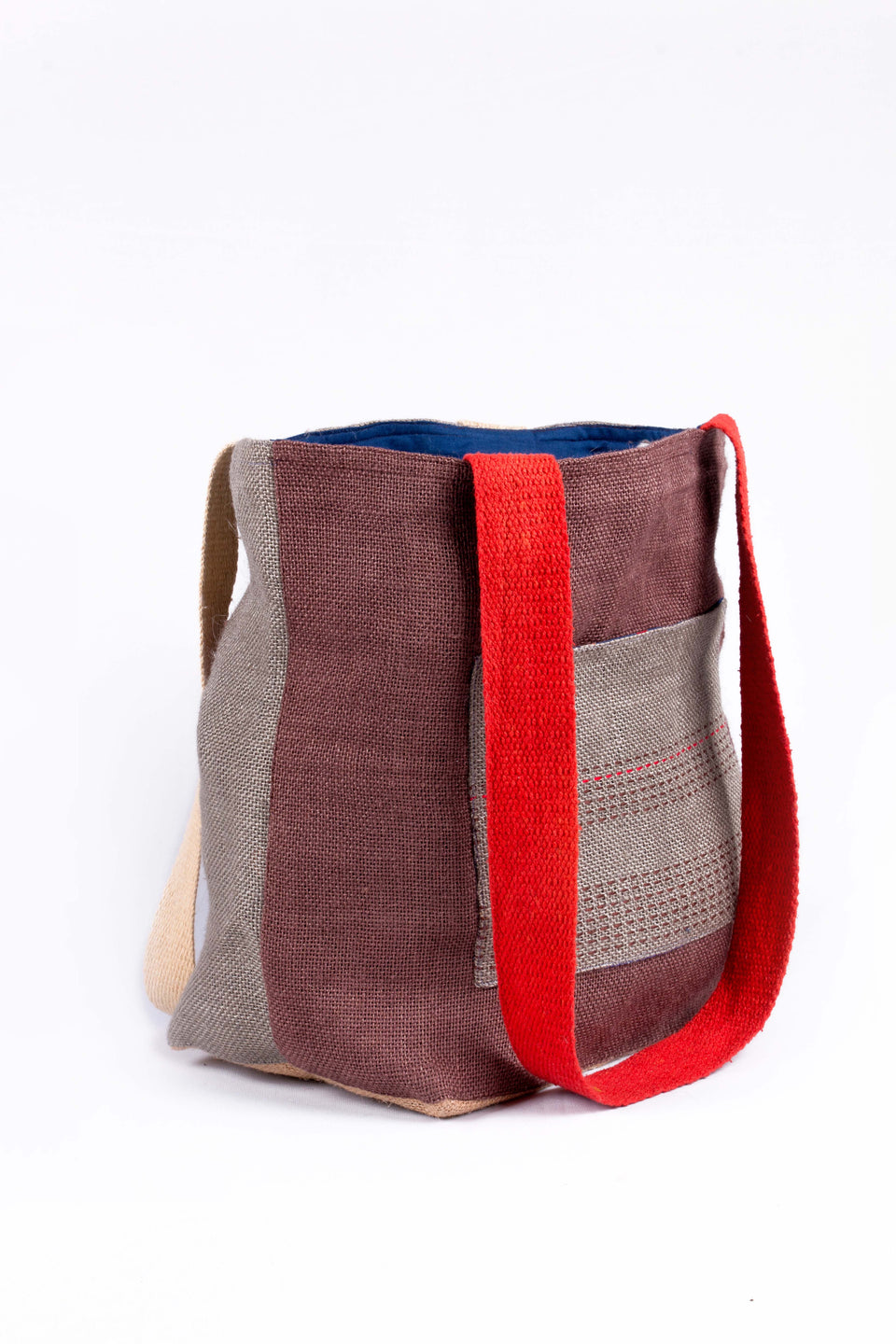 Bishesh Tote in Grey, Brown and White