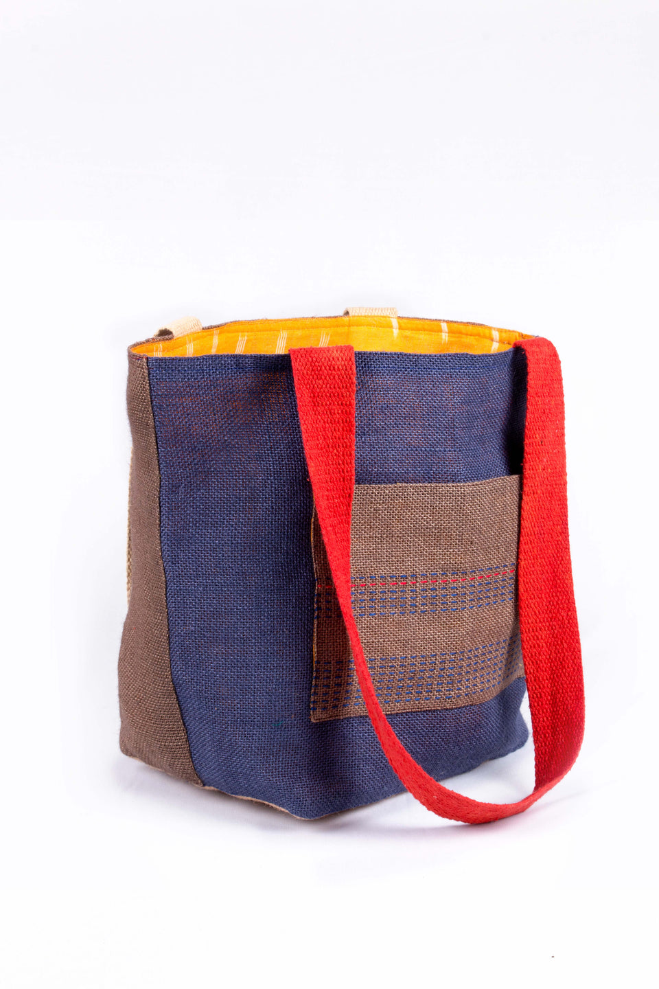 Bishesh Tote in Navy, Brown and Yellow
